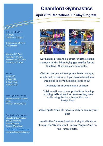 2021 April Rec Holiday Program Flyer A4.
