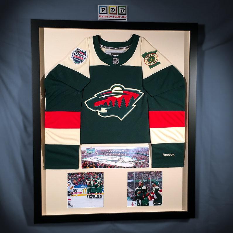 Minnesota Wild Hockey Jersey Framed in Shadow Box