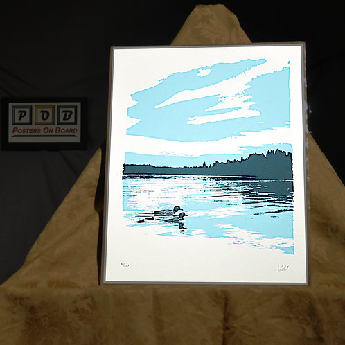 Brian Geihl, Loon Family Blue, 11x14, Limited Edition, 10-100, 25