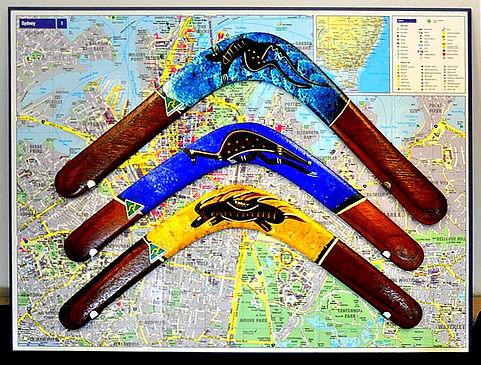 Real Boomerangs mounted on an Austalian Map!