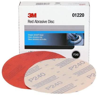 3M™ 01220 316U Series Abrasive Disc, 6 in Dia, P240 Grit, Hook and Loop, Red