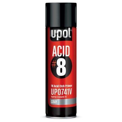 U-POL® UP0741V ACID#8 Acid Etch Primer, 12 oz Aerosol, Light Gray