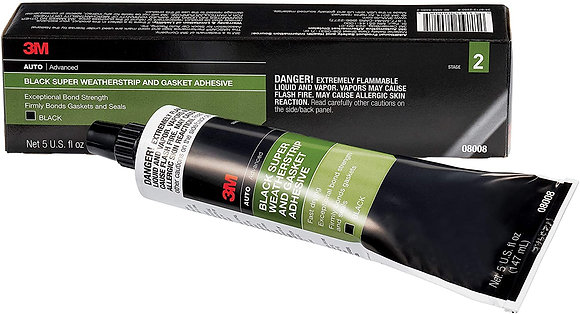 3M™ 08008 Super Weatherstrip and Gasket Adhesive, 5 oz Tube, Paste, Black, 24 hr