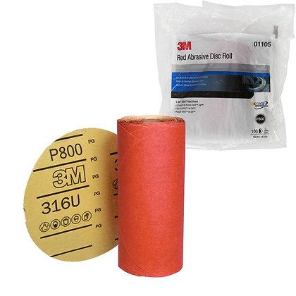 3M™ 01105 316U Series Abrasive Disc, 6 in Dia, P800 Grit, PSA
