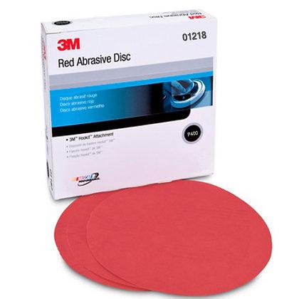 3M™ 01218 316U Series Abrasive Disc, 6 in Dia, P400 Grit, Hook and Loop, Red
