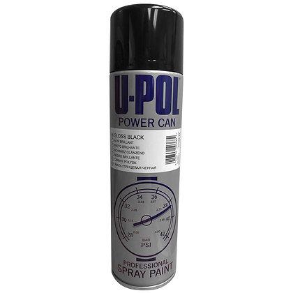 U-POL® Power Can UP0801 Spray Paint, 500 mL Aerosol Can, Gloss Black