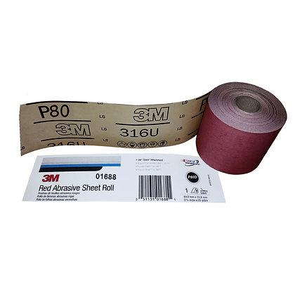 3M™ 01688 316U Series Abrasive Sheet Roll, 2-3/4 in W x 25 yd L, P80 Grit