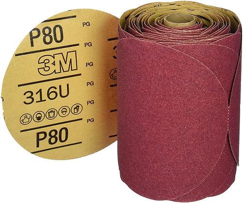 3M™ 01116 316U Series Abrasive Disc, 6 in Dia, P80 Grit, PSA