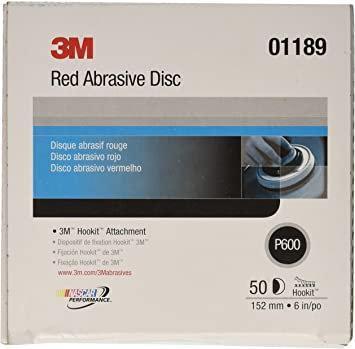 3M™ 01189 316U Series Abrasive Disc, 6 in Dia, P600 Grit, Hook and Loop, Red