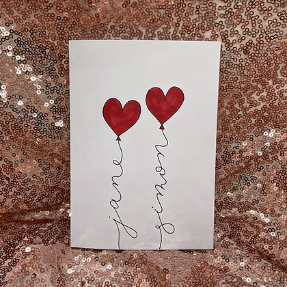 Anniversary card 'heart balloons'