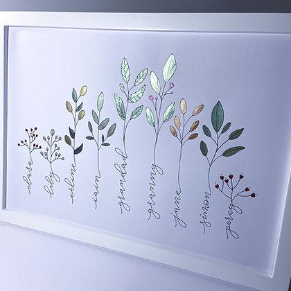 'Family tree' handmade artwork