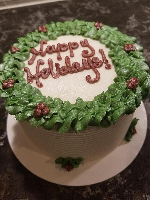 """8"""" Vanilla Holly Wreath Cake"""