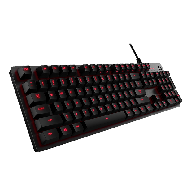 The Logitech G413 is a very straightforward mechanical keyboard. It features tactile Romer-G switches that have a very smooth bump and offer a good overall typing experience. However, the board can only light red, which is disappointing if you prefer full RGB lighting. On the upside, it's fairly well-built and is compatible with the G HUB software that allows some customization settings, like macros on function keys.