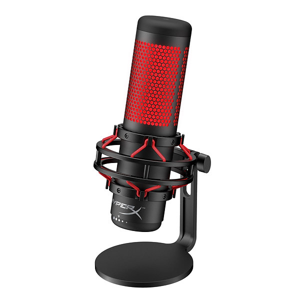 "The HyperX QuadCast™ is the ideal all-inclusive standalone microphone for the aspiring streamer or podcaster looking for a condenser mic with quality sound. QuadCast comes with its own anti-vibration shock mount to help reduce the rumbles of daily life and a built-in pop filter to muffle pesky plosive sounds. Instantly know your mic status with the LED indicator, and simply tap-to-mute to avoid awkward broadcasting accidents. With four selectable polar patterns, this mic's prepared for nearly any recording situation and also features a conveniently-located gain control dial to quickly adjust your mic input sensitivity. The included mount adapter fits 3/8"" and 5/8"" thread sizes and is compatible with most stands. The QuadCast S model provides RGB lighting and dynamic effects that are customizable through HyperX NGENUITY software.  The QuadCast family is certified by Discord and TeamSpeak™ so you can ensure that your microphone is broadcasting loud and clear for all your followers and listeners, and you can also monitor your mic in real time using the convenient headphone jack on the back of the mic. Compatible with PC, PS4™, and Mac® as well as major streaming platforms like Streamlabs OBS, OBS Studio, and XSplit so you'll be able to deliver quality sound to anyone tuning in."