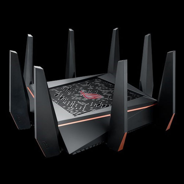 AC5300 Tri-band WiFi Gaming router, 8 LAN ports, dedicated gaming port, Triple-level game acceleration, support AiMesh Whole Home Mesh WiFi, Lifetime Free AiProtection Pro Internet Security, wtfast, Open NAT easy port forwarding      Rule the network – ROG Gaming Center keeps tabs on all the important gaming stuff, such as lag, traffic stats and device connections.     Triple-level Game Acceleration – Accelerate game traffic every step of the way — from device to game server.     Front-line network security – Neutralize internet threats before they hit your network.     PC-grade CPU – Unrivaled quad-core processing power for ultimate network performance.     Battle-ready hardware – Game-winning tri-band 802.11ac Wi-Fi, with 8 x Gigabit LAN ports for wired devices and 2 x ultra-fast USB 3.0 ports.     AiMesh Supported - Connect to other compatible ASUS routers to create a powerful and flexible whole-home Wi-Fi network