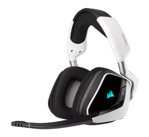 Immerse yourself in the action with the CORSAIR VOID RGB ELITE Wireless, boasting custom-tuned 50mm neodymium audio drivers, comfortable microfiber mesh fabric with memory foam earpads, and a 2.4GHz wireless connection.