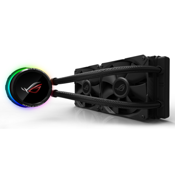 """1.77"""" color OLED for real-time system stats and personalized logos or animations ROG-designed radiator fans for optimized airflow and static pressure LiveDash one-stop control center for lighting and OLED display Individually addressable RGB and NCVM coating pump cover accentuates the sleek, modern aesthetics Styled to complement ROG motherboards, at the center stage of your build Reinforced, sleeved tubing for increased durability"""