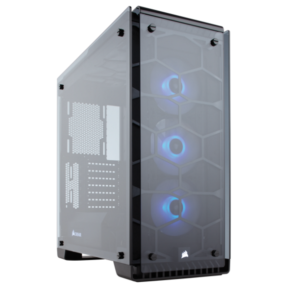 Corsair Crystal Series 570X RGB ATX Mid-Tower Case - Black ■ Fans Included Front: (x3) 120mm RGB LED ■ Dimensions: 480mm x 234mm x 512mm ■ Compatible Corsair Liquid Coolers: H55, H60, H75, H80i, H90, H100i, H105, H110 ■ Maximum GPU Length: 370mm ■ Maximum CPU Cooler Height: 170mm ■ Maximum PSU Length: 225mm ■ Case Expansion Slots: 7 ■ Case Drive Bays: (x2) 3.5in, (x2) 2.5in ■ Fan Mount Locations Front: (x3) 120mm or (x2) 140mm, Top: (x2) 120/140mm , Rear: (x1) 120mm
