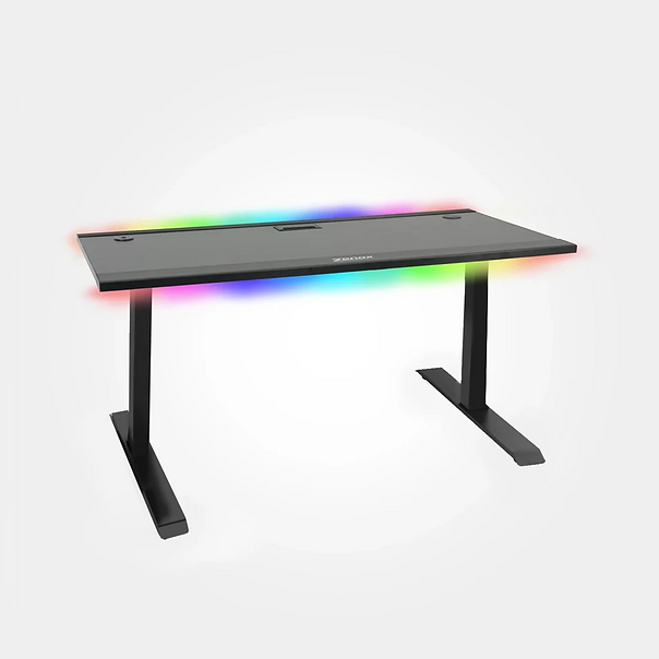 Zenox Orion Gaming Desk RGB light Strips Levellers Aluminium Pannels USB Data Port Cable Managements Outlets
