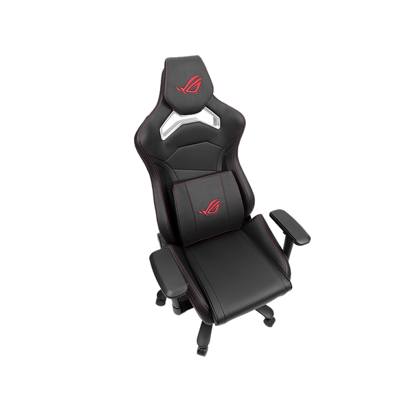 ROG Chariot Gaming Chair evokes the style and sensation of taking the driving seat of high-end racing car, with integrated Aura RGB illumination for pole-position aesthetics. With high-density foam headrest, memory-foam lumbar support, breathable PU leather, 4D-adjustable armrests, lockable tilt mechanism and highly-durable components, Chariot cossets you in safe, comfortable style – and empowers you to project your own personality in any gaming arena.
