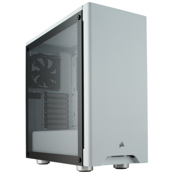"""Corsair Carbide Series 275R Tempered Glass - White ▶ Dimensions (LxWxH): 446m x 210mm x 436.5mm ▶ Fans Included Front: (x1) 120mm / Rear : (x1) 120mm ▶ Expansion Slots: 7 ▶ Storage: 2x3.5"""", 3x2.5"""" ▶ Maximum GPU Length: 370mm ▶ Maximum CPU Height: 170mm ▶ Motherboard: ATX, Micro-ATX, Mini-ITX"""