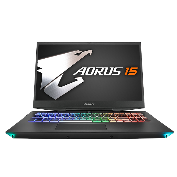 """The AORUS 15 packs the brand new 9th Gen CPU and RTX graphics in a chassis that is just under 2.4cm thin, in addition with WINDFORCE technology by the renowned AORUS graphics specialist team, making it possible for the CPU and GPU to perform at its peak condition. The AORUS 15 takes the lead in 3D benchmark scores, receiving the """"best performance laptop under 1-inch """" title."""