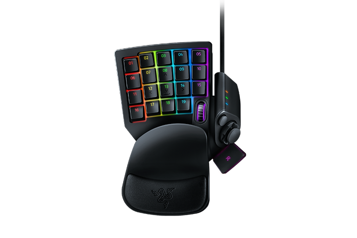 INFINITE COMMANDS. ENDLESS POSSIBILITIES. When you're in the center of the battlefield, it's crucial to do everything from cast spells to activate skills in a flash. With the Razer Tartarus V2, you can bind commands and skills and activate them instantaneously—all in the palm of your hand. ALL-NEW RAZER™ MECHA-MEMBRANE Meet the best of both worlds. The Razer Tartarus V2 combines the soft cushioned touch of a membrane rubber dome with the crisp tactile click of a mechanical switch. Each key is actuated at mid-height for an instantaneous response. Now you can command faster than ever. 32 KEYS. ULTIMATE CONTROL. Equip yourself with a complete arsenal of 32 fully programmable keys for skills, hotkeys and macros right at your fingertips. The 8-way directional thumbpad can also be used for easy movement or to expand on commands.