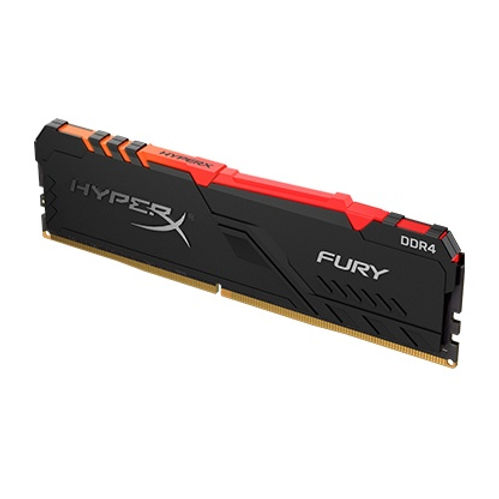 HyperX® FURY DDR4 RGB delivers a boost of performance and style with speeds of up to 3733MHz, aggressive styling, and RGB lighting that runs the length of the module for smooth and stunning effects. This dazzling, cost-effective upgrade is available in 2400MHz–3733MHz speeds, CL15–19 latencies, single module capacities of 4GB–32GB, and kit capacities of 16GB–128GB. It features Plug N Play automatic overclocking at 2400MHz and 2666MHz speeds and is both Intel XMP-ready and Ready for Ryzen. HyperX FURY DDR4 RGB stays cool with its stylish, low-profile heat spreader. 100% tested at speed and backed by a lifetime warranty, it's an easy, worry-free upgrade for your Intel or AMD-based system.
