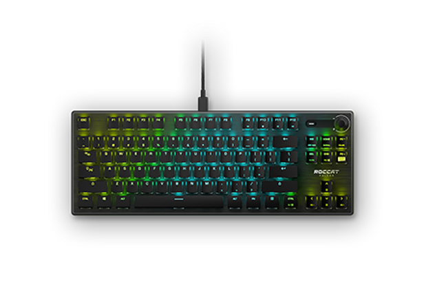 The ROCCAT Vulcan TKL Pro channels the award-winning Vulcan, making the best gaming keyboard better through:  Tenkeyless form factor, freeing up your valuable desk space for a bigger range of mouse movements  Titan Switch Optical, harnessing the speed of light with firmware that recognizes each keystroke cleanly, distinctly, and with zero delay  Detachable braided USB-C cable, making it tournament and travel-ready