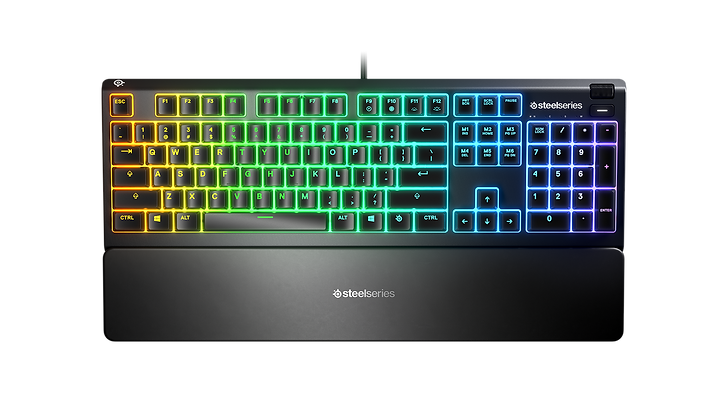 The water resistant Apex 3 is a full-fledged gaming keyboard created by combining our cutting-edge technology with 10-zone RGB, whisper-quiet gaming switches, and gaming-grade anti-ghosting