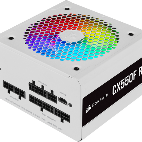 Corsair CX Series™ CX550F 550W 80 Plus® Bronze Fully Modular RGB PSU - White