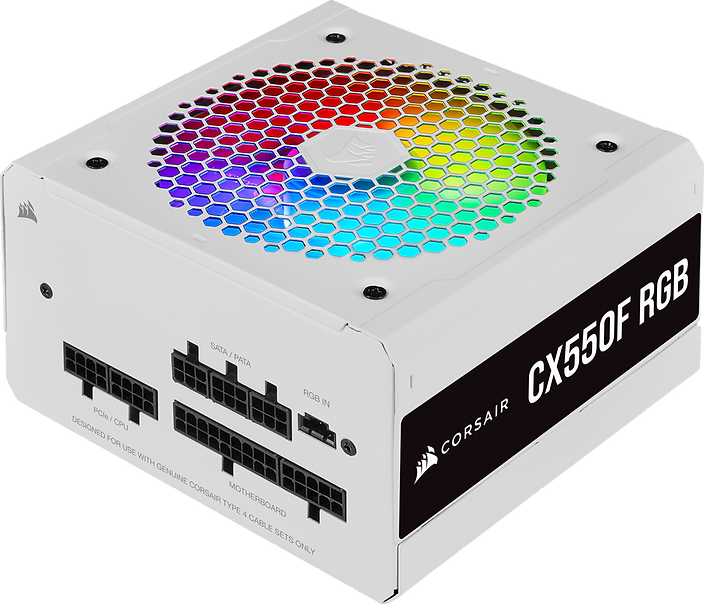 CORSAIR CX-550F RGB Series fully modular power supplies deliver reliable 80 PLUS Bronze efficient power to your system, alongside vibrant customizable lighting from a 120mm RGB fan and a clean white aesthetic.
