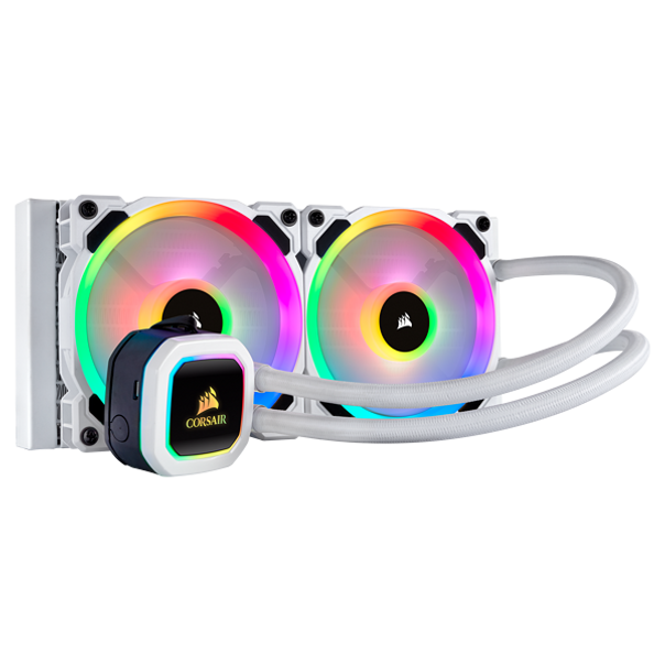 The CORSAIR Hydro Series H100i RGB PLATINUM SE is an all-in-one liquid CPU cooler with a 240mm radiator and vivid RGB lighting in brilliant white housing, built for extreme CPU cooling.