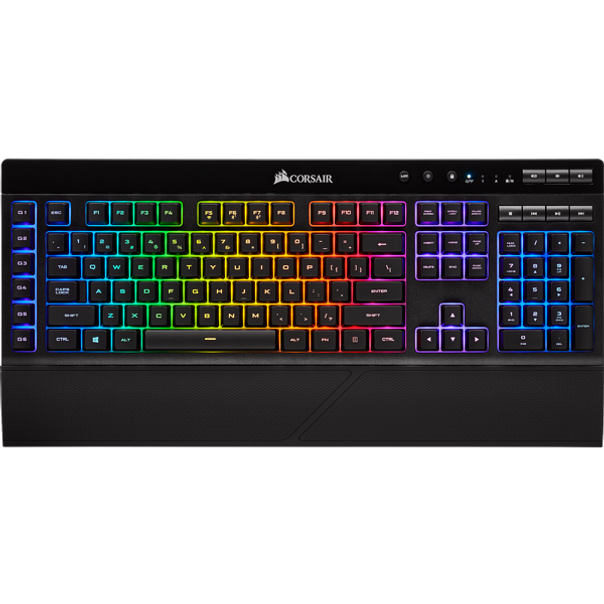 Light up your wireless gaming with the K57 RGB Wireless Gaming Keyboard, connecting with sub-1ms SLIPSTREAM WIRELESS, Bluetooth, or USB wired.   CAPELLIX LEDs create brilliant per-key RGB backlighting, brighter and more efficient than conventional LEDs. Six dedicated macro keys help give you an in-game edge, while a detachable palm rest reduces stress on your wrists. Quiet and responsive keys are great for comfortable typing or intense gameplay, while dedicated volume and multimedia keys put control over your media at the touch of a button. Powered by iCUE software to enable detailed customization of RGB lighting along with custom macros and key remaps, the K57 RGB Wireless turns up the lights.
