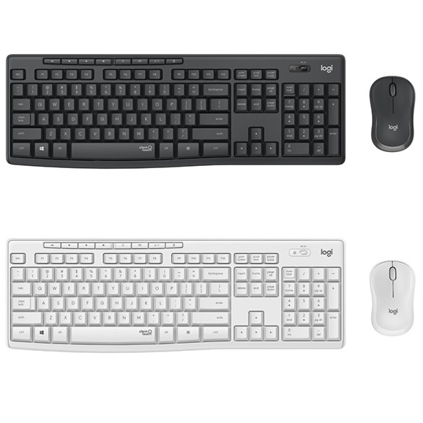 Stay focused and get more done with Logitech MK295 Silent Wireless Combo – a keyboard and mouse combo with new SilentTouch technology removes over 90% of disruptive sounds while keeping the familiar typing and clicking feel. Strong, reliable 2.4 GHz wireless connection allows you to work with a 10 m range.  The full-size keyboard provides all you need in the elegant and efficient design. 8 convenient shortcuts plus the full numpad simplify data entry and navigation.  Contoured and portable shape. Smooth, precise clicking and pointing on most surfaces. Not to mention the impressive quietness made possible by SilentTouch.