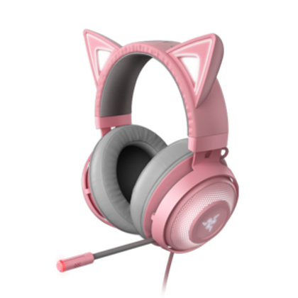 THE MEOW FACTOR Create the purrfect gaming look with your own killer kitty style. Express your own unique personality and passion in the most colorful way imaginable with the Razer Kraken Kitty Edition—a USB gaming headset with highly customizable lighting that's every shade of awesome. KITTY EARS AND EARCUPS POWERED BY RAZER CHROMA With 16.8 million colors and a suite of lighting effects, the style possibilities are endless with our signature RGB lighting. Able to light up independently from one another, the gaming headset's earcups and kitty ears can be customized to your heart's content for a range of looks to match every occasion. STREAM REACTIVE LIGHTING As a streamer, you can take your showmanship to new heights and add a new level of audience interaction with lighting that responds to your viewers' emotes, alerts, shout outs and more. Personalize exactly which colors and effects are triggered on the headset with the Streamer Companion App. COSPLAY MODE The Razer Chroma lighting on this USB gaming headset can be activated when plugged into a power bank, allowing you to turn on the charm wherever the camera may be. ACTIVE NOISE-CANCELING MICROPHONE Sound as good as you look and push out crystal clear communication with a retractable, high-quality microphone that's tuned to block out all background noise.