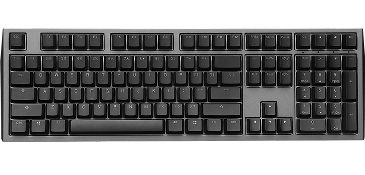 The Ducky Shine 7 is a large, full-size keyboard that great for most uses. The keyboard is highly customizable, as all the keys are macro-programmable, and its full RGB backlighting provide a perfect late-night gaming experience. Its doubleshot PBT keycaps feel durable, and the key legends are clear and legible. The Cherry MX Brown switches offer a comfortable typing experience with excellent feedback, and it's quiet enough for use in any office setting. It is a wonderful choice for mixed use.