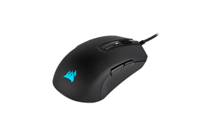 The CORSAIR M55 RGB PRO Gaming Mouse offers game-winning versatility with an ambidextrous design that fits any grip or hand, and a highly precise 12,400 DPI optical sensor.  Its durable construction, complete with 50 million click-rated Omron switches and a premium braided cable, stands up to the rigors of intense gaming while minimizing fatigue with a remarkably light weight of just 86g. Start gaming immediately with simple plug-and-play setup out of the box. Take full control with powerful CORSAIR iCUE software, enabling you to swap between left and right-handed modes, assign macros and remaps to eight programmable buttons, customize RGB backlighting, and manage five DPI settings that can be switched on the fly. No matter how you choose to play, stand up to any challenge with the M55 RGB PRO.