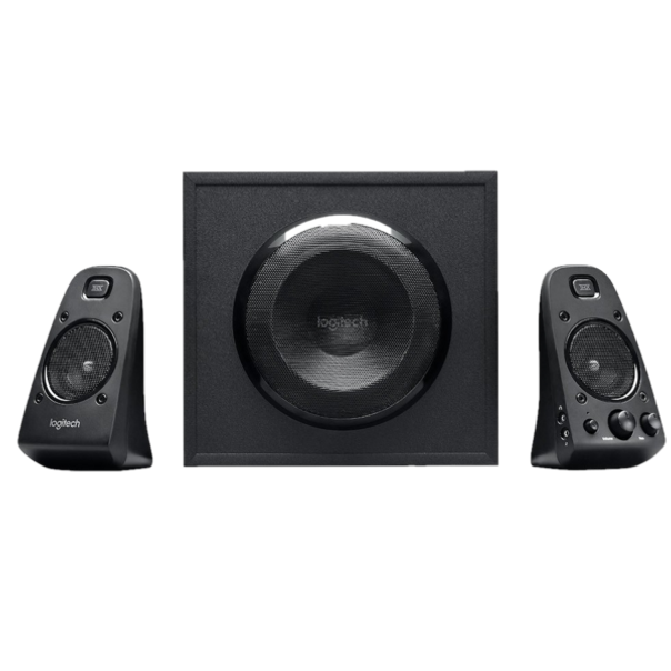 400 Watts Peak/200 Watts RMS power delivers amped audio from this 2.1 speaker system. Connect up to three compatible devices via the 3.5mm and RCA inputs. Easily access all controls on the right satellite speaker.
