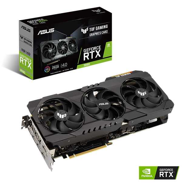 "繪圖核心 NVIDIA® GeForce RTX™ 3090 匯流排規格 PCI Express 4.0 OpenGL OpenGL®4.6 記憶體形式 GDDR6X 24GB CUDA 核心數 10496 Memory Speed 19.5 Gbps 記憶體介面 384-bit 解析度 數位最高解析度:7680x4320 介面 HDMI 輸出: Yes x 2(Native) (HDMI 2.1) Display Port: Yes x 3(Native) (DisplayPort 1.4a) HDCP 支援 : Yes Maximum Display Support 4 NVlink/ Crossfire Support Yes Recommended PSU 750W (Please reference NVIDIA's website for more information) 電源連接器 2 x 8-pin 配件 1 x Collection card 1 x Speedsetup manual 1 x TUF certificate of Reliability 軟體 ASUS GPU Tweak II & Driver, please download all software from the support site. 產品尺寸 11.81 "" x 5 "" x 2.04 "" 吋 29.99 x 12.69 x 5.17 公分 Slot 2.7 slot"