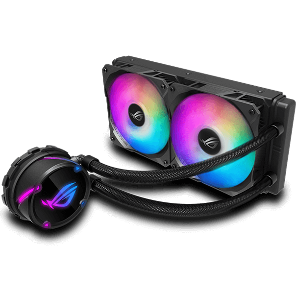 ROG Strix LC 240 RGB 一體式 CPU 水冷散熱器,搭載 Aura Sync 及兩個 ROG 120mm 可編程 RGB 散熱風扇 專為 ROG 設計的散熱風扇,可提供最佳化氣流及靜壓 個別可編程 RGB 及 NCVM 塗層泵蓋,突顯時尚的現代美學 外型可與 ROG 主機板完美搭配,成為主機內的矚目焦點 採用強化套管,更加經久耐用