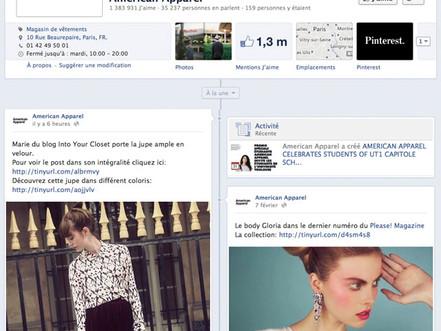 AMERICAN APPAREL / FACEBOOK / A LA UNE / 11.02.13