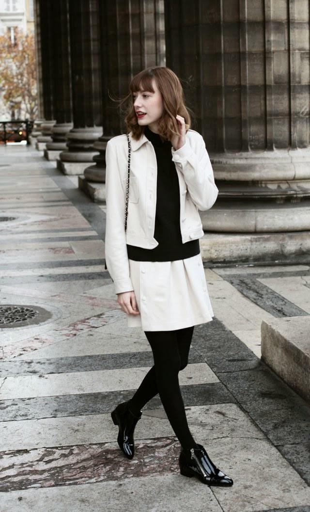 look, outfit, fashion, mode, bloggueuse, blogger, french, française, la petite française, le chic à la française, courrèges, eram, new look, turtle neck