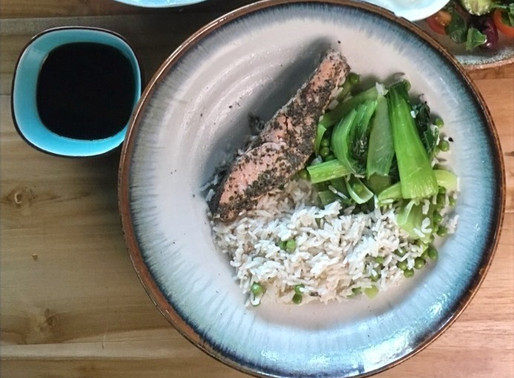 Green tea salmon with coconut rice