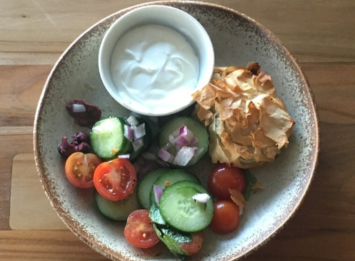 Greek filo parcels with fresh salad