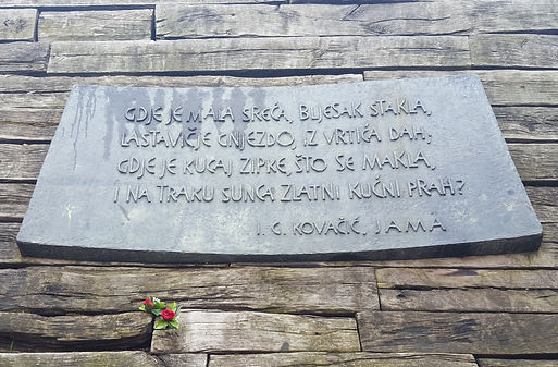 bronze plaque poem Ivan Goran Kovačić Jasenovac spomenik