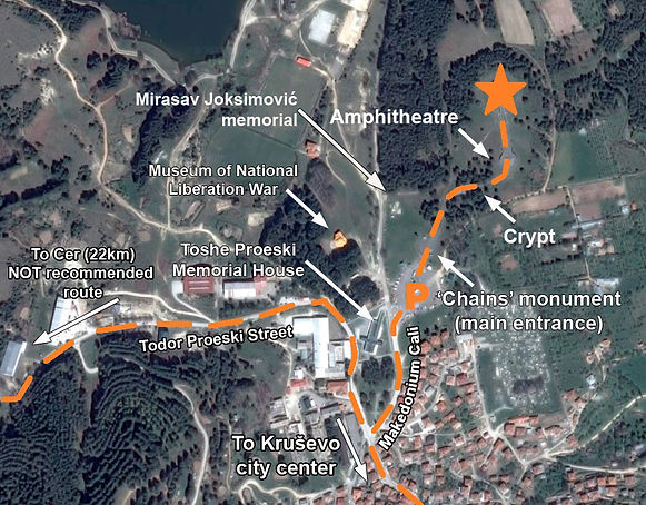Map to the location of the monument at the Krusevo spomenik complex in Macedonia.