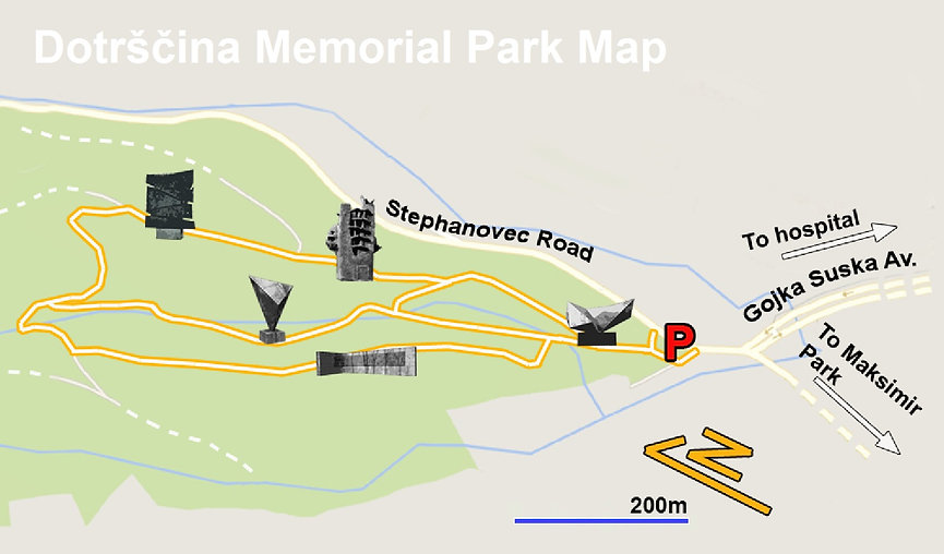 A trail map of the monument complex at the Dotršćina WWII spomenik park in Zagreb, Croatia.