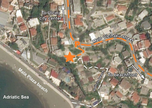 A map to the WWII spomenik complex located in Ulcinj, Montenegro (Crna Gora).