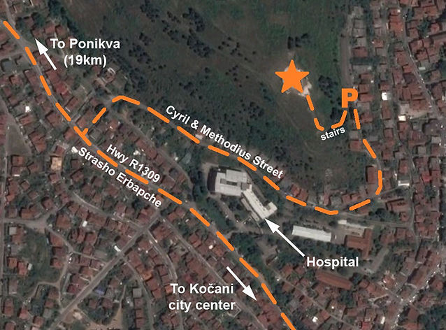 A map to the location of the monument at the spomenik complex in Kočani, Macedonia.